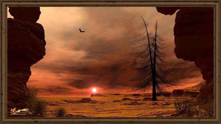 archaic landscape - red horizon 16 to 9-x-framed
